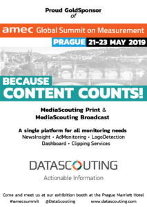 DataScouting Gold Sponsor of the AMEC Global Summit in Prague, May 2019
