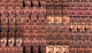The progress of a neural network that is learning how to generate Jimmy Fallon and John Oliver's faces.