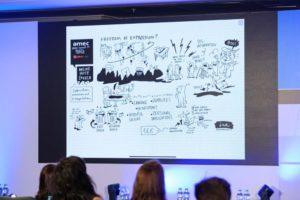 Sketchnote de Linda Saukko-Rauta en la Cumbre Global AMEC 2019 en Praga, en el patrocinio de Brick Insights.