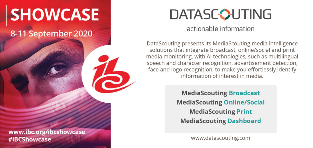 DataScouting's MediaScouting Suite at the IBC Showcase 2020
