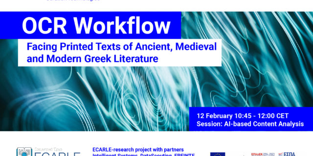 ECARLE project presents: OCR Workflow: Facing Printed Texts of Ancient, Medieval and Modern Greek Literature